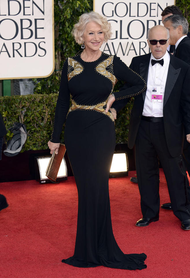 Helen Mirren arrives at the 70th Annual Golden Globe Awards at the Beverly Hilton in Beverly Hills, CA on January 13, 2013.