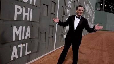 """Evans recorded """"At Fenway"""" in 2012. His homage to The Boston Red Sox was added to the library of The National Baseball Hall of Fame in 2015. The song was co-produced by his mother, Helen Marie Bousquet, and Mark Andrew Biltz. Both also appear in the video, which co-stars William Shatner. (PRNewsfoto/Thematic Productions)"""