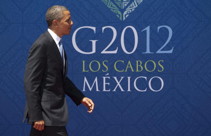 President Barack Obama arrives at the G-20 summit in Los Cabos, Monday June 18, 2012. The leaders of the world's largest economies have agreed to step up their efforts to boost growth and job creation, which they call the top priority in fighting the effects of the European economic crisis, according to a draft of the statement to be released Tuesday at the end of the Group of 20 annual meeting. (AP Photo/The Canadian Press, Adrian Wyld)