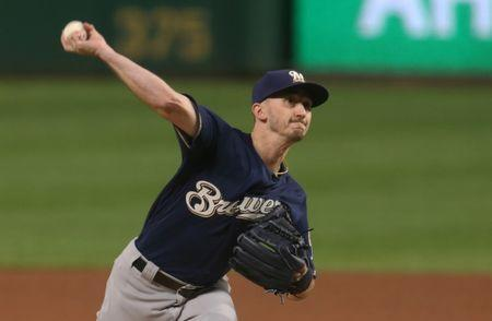 FILE PHOTO: Sep 22, 2018; Pittsburgh, PA, USA; Milwaukee Brewers starting pitcher Zach Davies (27) delivers a pitch against the Pittsburgh Pirates during the first inning at PNC Park. Mandatory Credit: Charles LeClaire-USA TODAY Sports