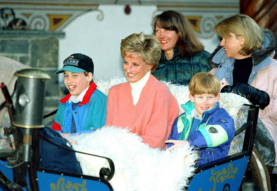Diana, The Princess Of Wales, Prince William And Prince Harry, Ride In A Horse Drawn Sleigh, In Lech Austria, During Their Annual Ski Holiday, Accompanied By The Princess'S Friends Catherine Soames, And Kate Menzies. (Photo by Julian Parker/UK Press via Getty Images)