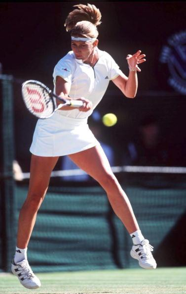 Steffi Graf at Wimbledon 1999. Steffi was known for her well-toned legs and beautiful, shy smile. She was also a favourite with her fans and her peers alike. Billi-Jean King and Martina Navratilova have both named her in their list of Tennis greats.