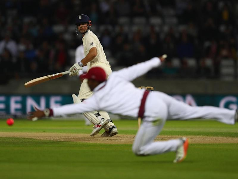 The pink ball stood out in the dark (Getty Images)