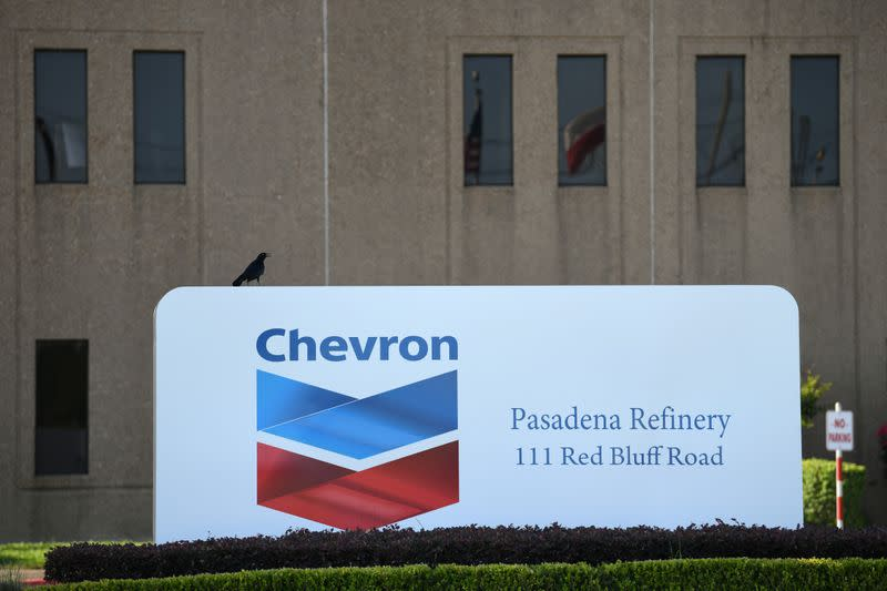 An entrance sign at the Chevron refinery, located near the Houston Ship Channel, is seen in Pasadena