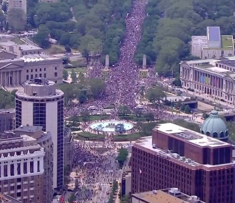 Aerial footage above the march in Philadelphia showed crowd numbers swelling to an 'unfathomable' level. Source: Twitter/NBC 10