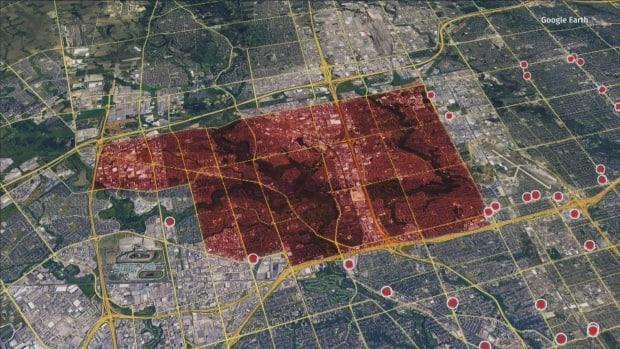 The red patch is Toronto's northwest corner, which has remained a hot spot for infections throughout the pandemic. Now, it's a desert for pharmacies offering the COVID-19 vaccine.