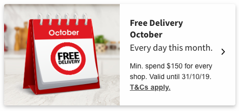 Free delivery promo box on the Coles online website.