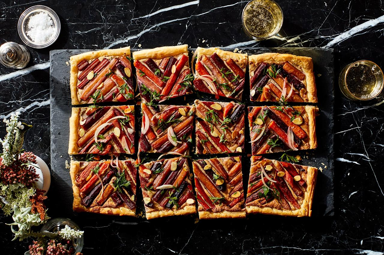 "Arranging the carrots in a geometric pattern transforms this savory tart into a truly show-stopping appetizer. <a href=""https://www.epicurious.com/recipes/food/views/carrot-tart-with-ricotta-and-almond-filling?mbid=synd_yahoo_rss"">See recipe.</a>"