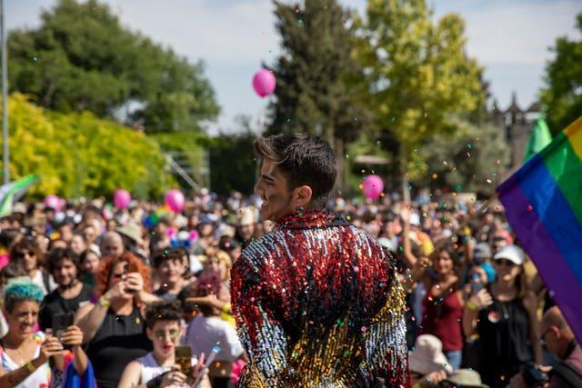 People dance at the Pride parade in Jerusalem