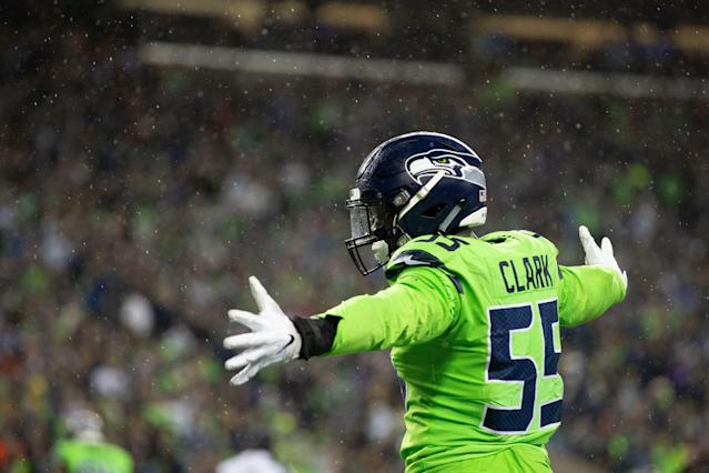 The Seahawks put the franchise tag on Frank Clark before nearing a deal with the Chiefs. (Getty Images)