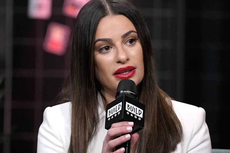 """NEW YORK, NEW YORK - DECEMBER 05: Actress and singer Lea Michele visits the Build Series to discuss the album """"Christmas in the City"""" and the ABC/Freeform film """"Same Time, Next Christmas"""" at Build Studio on December 05, 2019 in New York City. (Photo by Gary Gershoff/Getty Images)"""