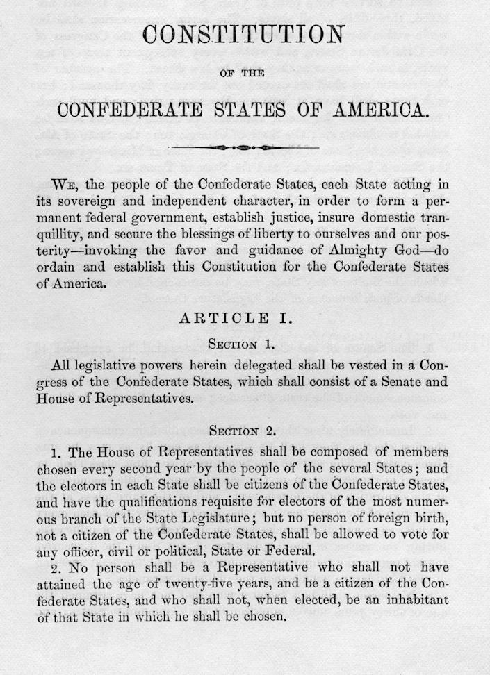 The Constitution of the Confederate States of America before the U.S. Civil War, circa March 1861.