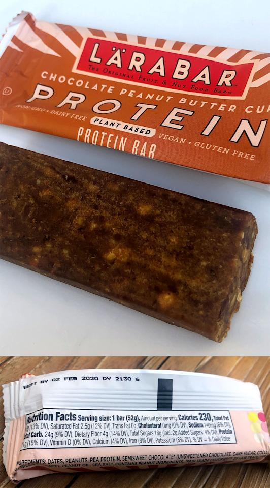 <p>Out of all four flavors, the Chocolate Peanut Butter Cup looked the most exciting. The ingredients are dates, peanuts, pea protein, semisweet chocolate (unsweetened chocolate, cane sugar, cocoa butter, vanilla extract), peanut oil, and sea salt.</p> <p>Each bar has 230 calories, 10 grams of fat, 2.5 grams of saturated fat, 140 milligrams of sodium, 24 grams of carbs, four grams of fiber, 18 grams of sugar (including two grams of added sugar), and 11 grams of protein.</p> <p>The texture of these protein bars was harder and denser than traditional Lärabars. This bar definitely had a deliciously strong chocolate peanut butter flavor. There were small bits of peanuts mixed in, which added to the satisfying texture.</p>