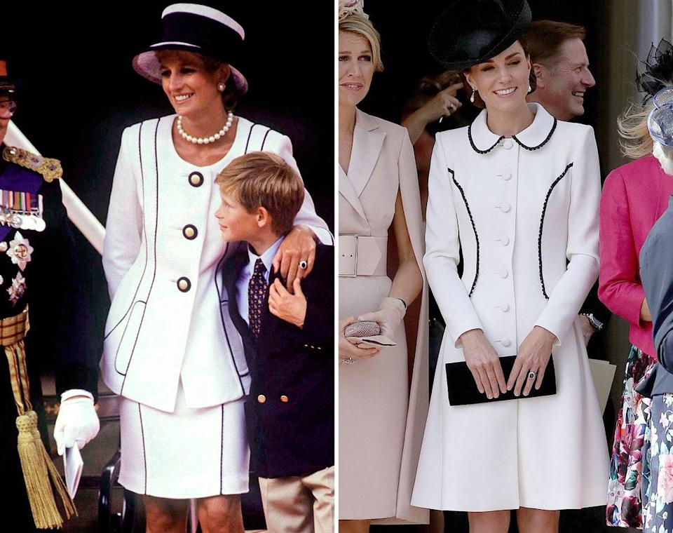 Princess Diana in 1995; Kate Middleton wearing Catherine Walker in 2019