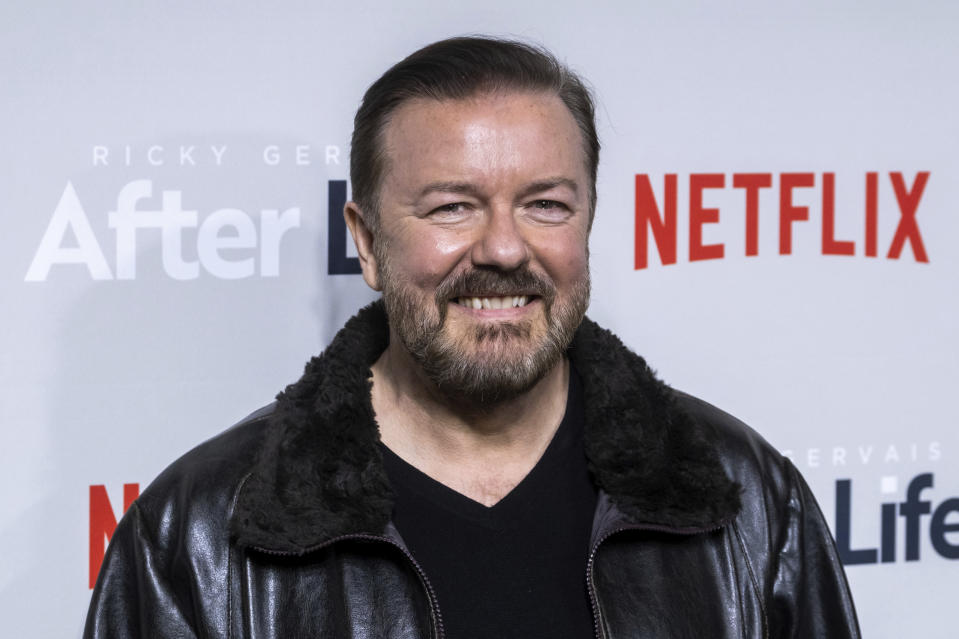 """Ricky Gervais attends a screening of Netflix's """"After Life"""" at the Paley Center for Media on Thursday, March 7, 2019, in New York. (Photo by Charles Sykes/Invision/AP)"""