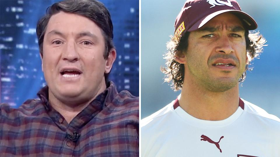 Nathan Hindmarsh (left) got revenge on Johnathan Thurston (right) over a sledge he copped from him years ago.