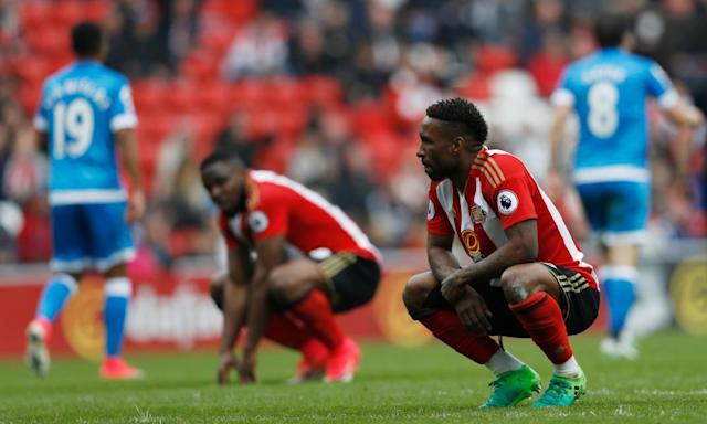 """<span class=""""element-image__caption"""">Sunderland's Jermain Defoe and Victor Anichebe look dejected against Bournemouth.</span> <span class=""""element-image__credit"""">Photograph: Lee Smith/Reuters</span>"""
