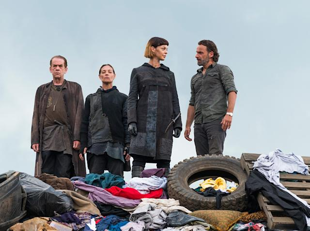 Thomas Francis Murphy as Brion, Sabrina Gennarino as Tamiel, Pollyanna McIntosh as Jadis, and Andrew Lincoln as Rick in  <em>The Walking Dead</em>. (Photo: AMC)