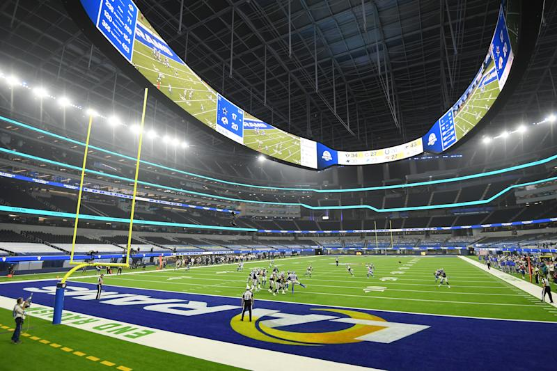 A general view of the field at SoFi Stadium during the Cowboys-Rams game.