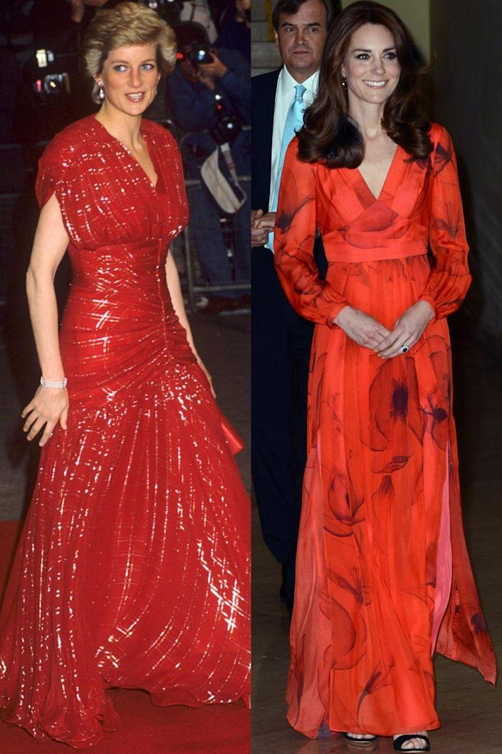 <p>Diana in Bruce Oldfield at a movie premiere in November 1991; Kate in Beulah London at a reception in Thimphu, Bhutan in April 2016.</p>