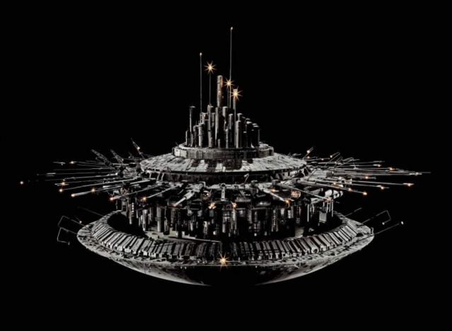 """Model of the mother ship from <i>Close Encounters of the Third Kind</i>. (Photo courtesy of the <a href=""""https://airandspace.si.edu/collection-objects/model-spacecraft-mother-ship-movie-close-encounters-third-kind"""" rel=""""nofollow noopener"""" target=""""_blank"""" data-ylk=""""slk:Smithsonian National Air and Space Museum"""" class=""""link rapid-noclick-resp"""">Smithsonian National Air and Space Museum</a>)"""