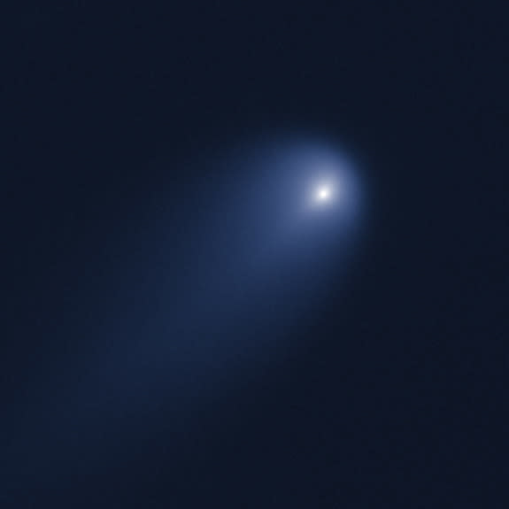 This NASA Hubble Space Telescope image of Comet ISON was taken on April 10, 2013, when the comet was slightly closer than Jupiter's orbit at a distance of 386 million miles from the sun (394 million miles from Earth).