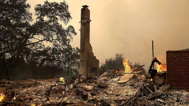 PHOTO: The remains of fire damaged homes after an out of control wildfire moved through the area, Oct. 9, 2017, in Glen Ellen, California. (Getty Images)