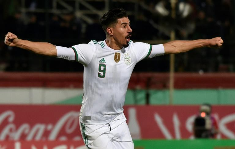 Baghdad Bounedjah celebrates scoring for Algeria in a 5-0 Africa Cup of Nations qualifying triumph over Zambia in Blida Thursday (AFP Photo/RYAD KRAMDI                        )