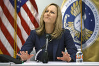 FILE - In this Dec. 11, 2018, file photo, Bureau of Consumer Financial Protection Director Kathy Kraninger pauses as she speaks to media at the Bureau of Consumer Financial Protection offices in Washington. Kraninger previously worked in the White House Office of Management and Budget in the Trump administration. California created what supporters called its own nation-leading, state-level version of the federal Consumer Financial Protection Bureau after critics said the Trump administration significantly weakened national protections, Friday, Sept. 25, 2020, The legislation that Gov. Gavin Newsom signed into law changes the existing Department of Business Oversight into the Department of Financial Protection and Innovation in what proponents said is the first such move by any state. (AP Photo/Carolyn Kaster, File)