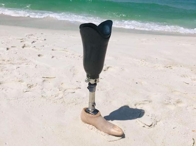 Two women shared a photo of a prosthetic leg they found at a Florida beach, within seven hours, the rightful owner had been found. (Photo: Facebook)