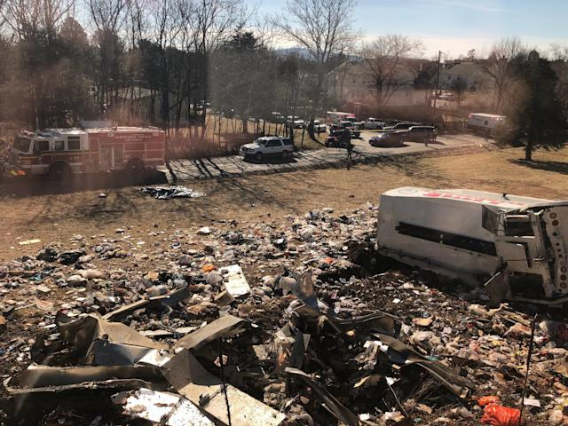 <p>This photo provided by a member of Congress, shows a crash site near Crozet, Va., Jan. 31, 2018. (Photo: AP) </p>