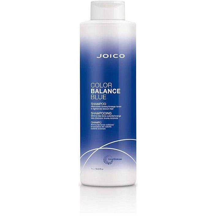 """<p><strong>Joico</strong></p><p>ulta.com</p><p><strong>$24.99</strong></p><p><a href=""""https://go.redirectingat.com?id=74968X1596630&url=https%3A%2F%2Fwww.ulta.com%2Fp%2Fcolor-balance-blue-shampoo-pimprod2021420&sref=https%3A%2F%2Fwww.goodhousekeeping.com%2Fbeauty-products%2Fg37068674%2Fbest-blue-shampoos%2F"""" rel=""""nofollow noopener"""" target=""""_blank"""" data-ylk=""""slk:Shop Now"""" class=""""link rapid-noclick-resp"""">Shop Now</a></p><p>Green tea extract, keratin and rosehip oil help <strong>keep hair strong and prevent breakage, while blue pigments neutralize orange tones</strong>. """"Personally, my hair pulls red after bleaching,"""" one reviewer says. """"This shampoo literally turns red tones into nicer, softer caramel timbres in just one use.""""</p>"""