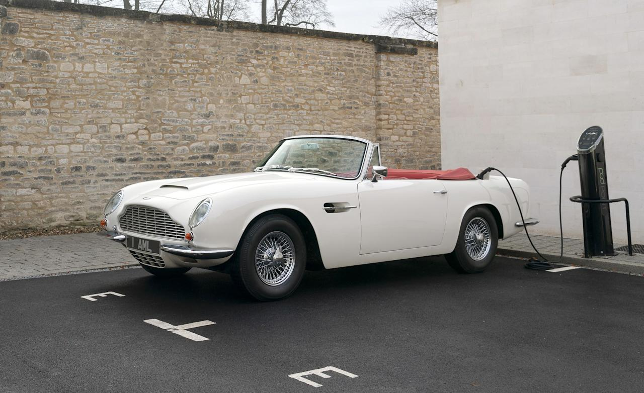 "<p><a rel=""nofollow"" href=""https://www.caranddriver.com/aston-martin"">Aston Martin</a> has created what it terms a ""reversible"" electrical drivetrain that can be retrofitted to some of its greatest hits-in this case, a 1970 DB6 Mark 2 Volante. If it's sacrilege, it's not the first time: Jaguar has already developed a modular electric powertrain for the company's older models, and we drove the <a rel=""nofollow"" href=""https://www.caranddriver.com/reviews/jaguar-e-type-zero-electric-ev-vintage"">prototype E-type Zero</a> at Pebble Beach earlier this year.</p>"