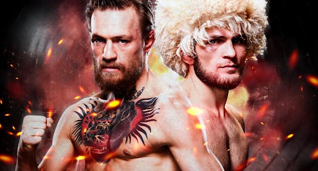 Conor McGregor and UFC lightweight champion Khabib Nurmagomedov fight for the belt at UFC 229 on Oct. 6. (Amber Matsumoto/Yahoo Sports)