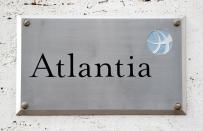 A logo of the Atlantia Group is seen outside their headquarters in Rome