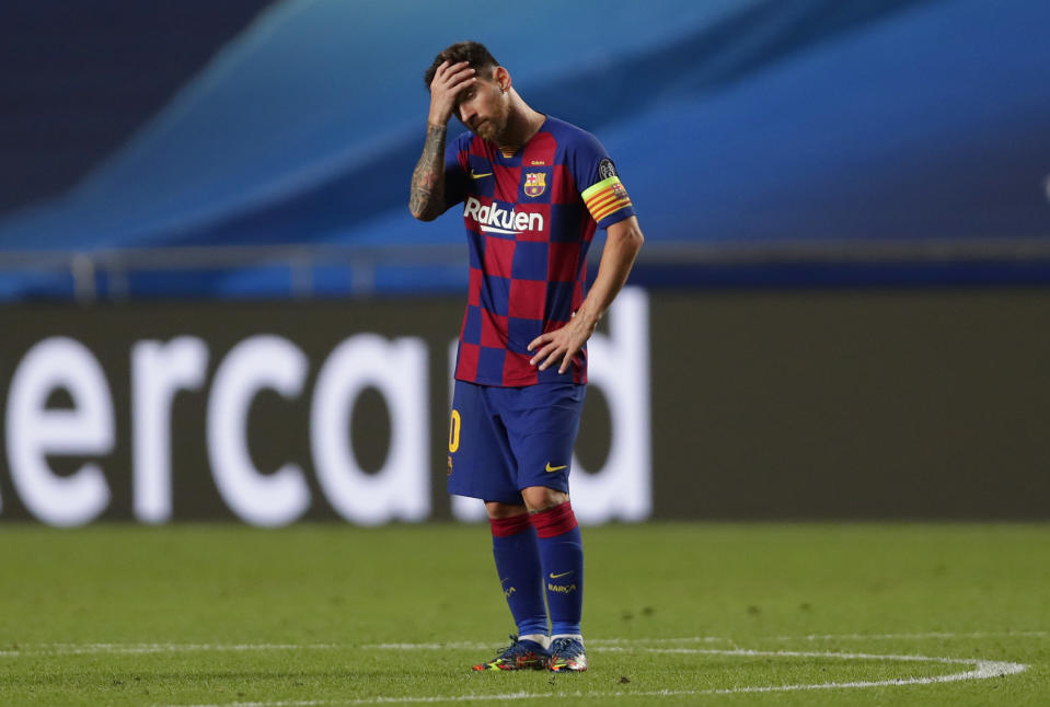What's next for Lionel Messi and Barcelona after Friday's embarrassing 8-2 loss to Bayern Munich? (Manu Fernandez/Getty Images)