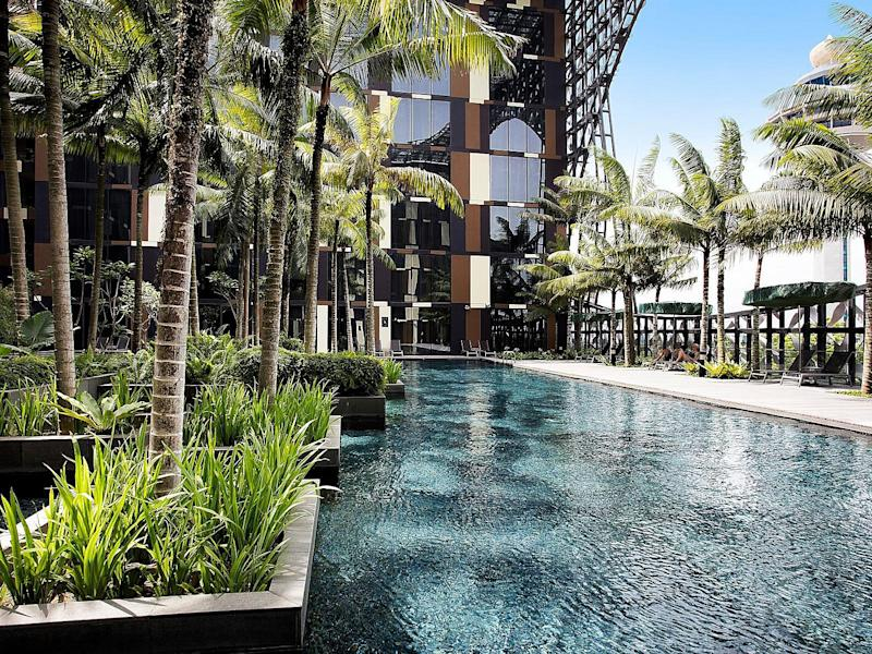 The central pool area at Crowne Plaza Changi is an oasis of calm amidst the hustle and bustle of one of the world's busiest airports. Picture: Supplied