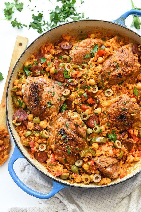 """<strong>Get the <a href=""""https://www.foodiecrush.com/spanish-chicken-and-rice-recipe/"""" target=""""_blank"""">Spanish Chicken and Rice </a>recipe from Foodie Crush</strong>"""