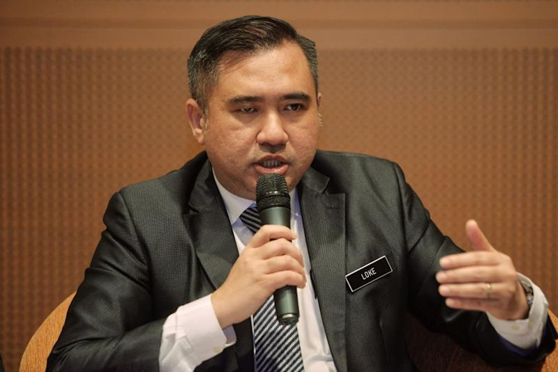 Transport Minister Anthony Loke told reporters April 21, 2019 that the government's emphasis when renegotiating the multi-billion ringgit ECRL project was that there must be opportunities for Malaysian companies. — Picture by Shafwan Zaidon