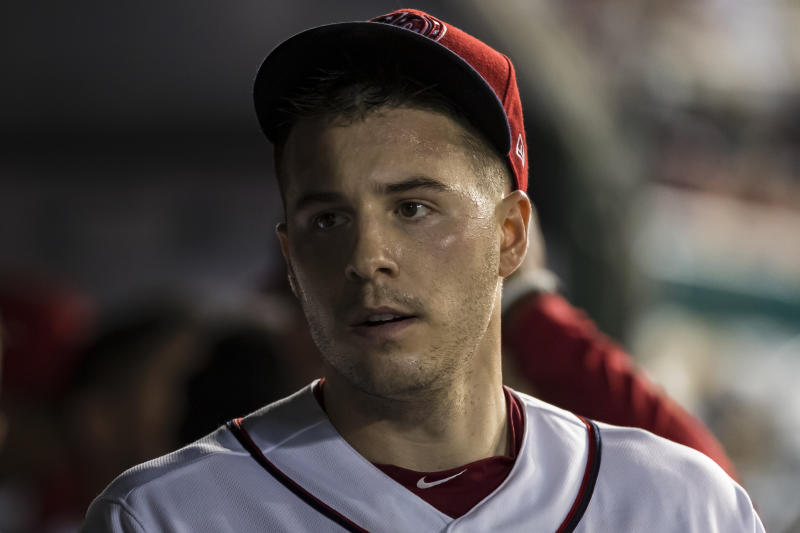 WASHINGTON, DC - JULY 24: Patrick Corbin #46 of the Washington Nationals in the dugout after pitching against the Colorado Rockies during the sixth inning of game two of a doubleheader at Nationals Park on June 24, 2019 in Washington, DC. (Photo by Scott Taetsch/Getty Images)