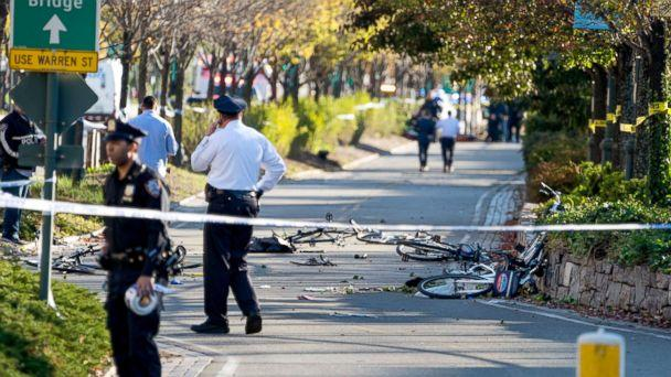 PHOTO: Bicycles and debris lay on a bike path after a motorist drove onto the path near the World Trade Center memorial, striking and killing several people, Oct. 31, 2017. (Craig Ruttle/AP)