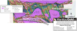 Showing structures along the Baltimore Deformation Zone
