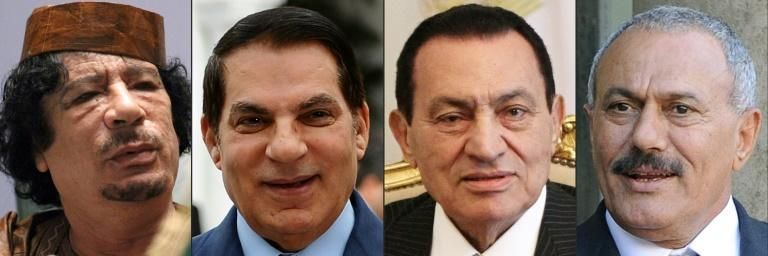 Libyan leader Moammar Kadhafi, Tunisian president Zine El Abidine Ben Ali, Egyptian president Hosni Mubarak and Yemen's president Ali Abdallah Saleh all fell from power during the Arab revolutions