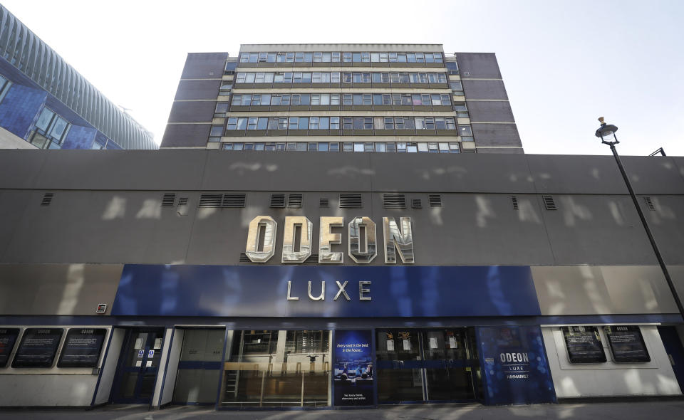 The Odeon Luxe Cinema in Leicester Square in London, Thursday, April 16, 2020. (AP Photo/Kirsty Wigglesworth)