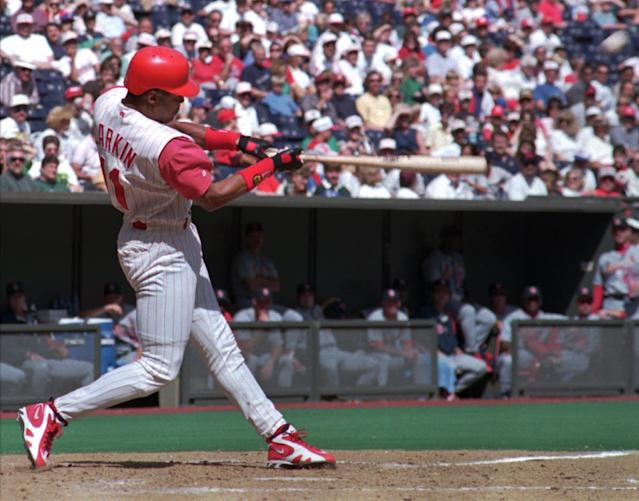Cincinnati Reds' Barry Larkin hits his 30th home run of the season against the St. Louis Cardinals Sunday, Sept. 22, 1996, in Cincinnati. Larkin became the first shortstop in Major League history to hit at least 30 home runs and steal 30 bases in the same season. (AP Photo/Tom Uhlman)
