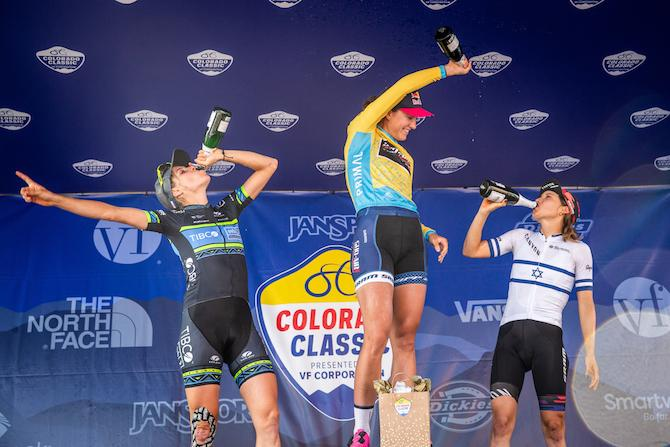 The overall top three celebrate on stage 4 of the 2019 Colorado Classic