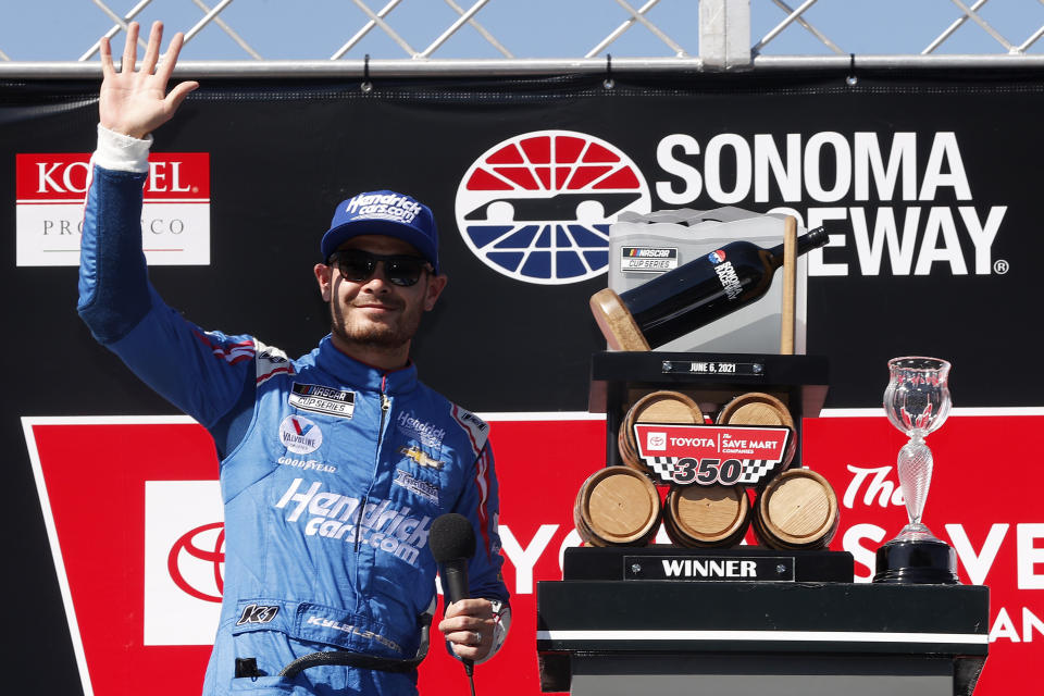 SONOMA, CALIFORNIA - JUNE 06: Kyle Larson, driver of the #5 HendrickCars.com Chevrolet, celebrates in victory lane after winning the NASCAR Cup Series Toyota/Save Mart 350 at Sonoma Raceway on June 06, 2021 in Sonoma, California. (Photo by Maddie Meyer/Getty Images)
