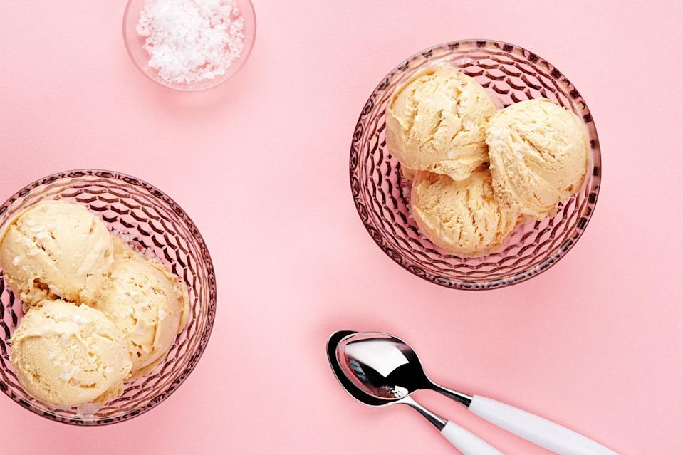 """Just three ingredients—and you don't need an ice cream machine to get your fix. <a href=""""https://www.epicurious.com/recipes/food/views/no-churn-salted-caramel-ice-cream-56389941?mbid=synd_yahoo_rss"""" rel=""""nofollow noopener"""" target=""""_blank"""" data-ylk=""""slk:See recipe."""" class=""""link rapid-noclick-resp"""">See recipe.</a>"""
