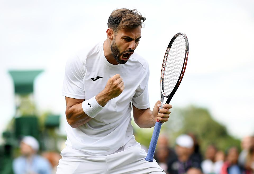 Marcel Granollers of Spain celebrates during a first set tiebreak in his Men's Singles first round match against Lorenzo Sonego of Italy during Day one of The Championships - Wimbledon 2019 at All England Lawn Tennis and Croquet Club on July 01, 2019 in London, England. (Photo by Matthias Hangst/Getty Images)