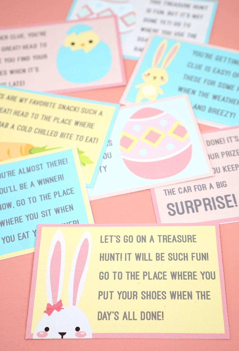 """<p>Lead your kids to their Easter baskets full of candy and eggs with these clever scavenger hunt clues.</p><p><strong>Get the tutorial at <a href=""""https://www.happinessishomemade.net/easter-scavenger-hunt-free-printable/"""" rel=""""nofollow noopener"""" target=""""_blank"""" data-ylk=""""slk:Happiness Is Homemade"""" class=""""link rapid-noclick-resp"""">Happiness Is Homemade</a>.</strong></p><p><strong><strong><strong><a class=""""link rapid-noclick-resp"""" href=""""https://www.amazon.com/Neenah-Cardstock-Heavy-Weight-Brightness-91437/dp/B07D4YF3K4/?tag=syn-yahoo-20&ascsubtag=%5Bartid%7C10050.g.4083%5Bsrc%7Cyahoo-us"""" rel=""""nofollow noopener"""" target=""""_blank"""" data-ylk=""""slk:SHOP CARD STOCK"""">SHOP CARD STOCK</a></strong></strong><br></strong></p>"""
